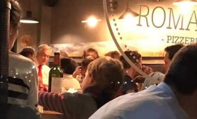 Sorprenden a Piñera en exclusiva pizzería de Vitacura mientras Santiago es un caos